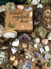 Box and crystals laid out on a table