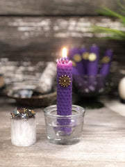 Purple Rolled Beeswax Candle