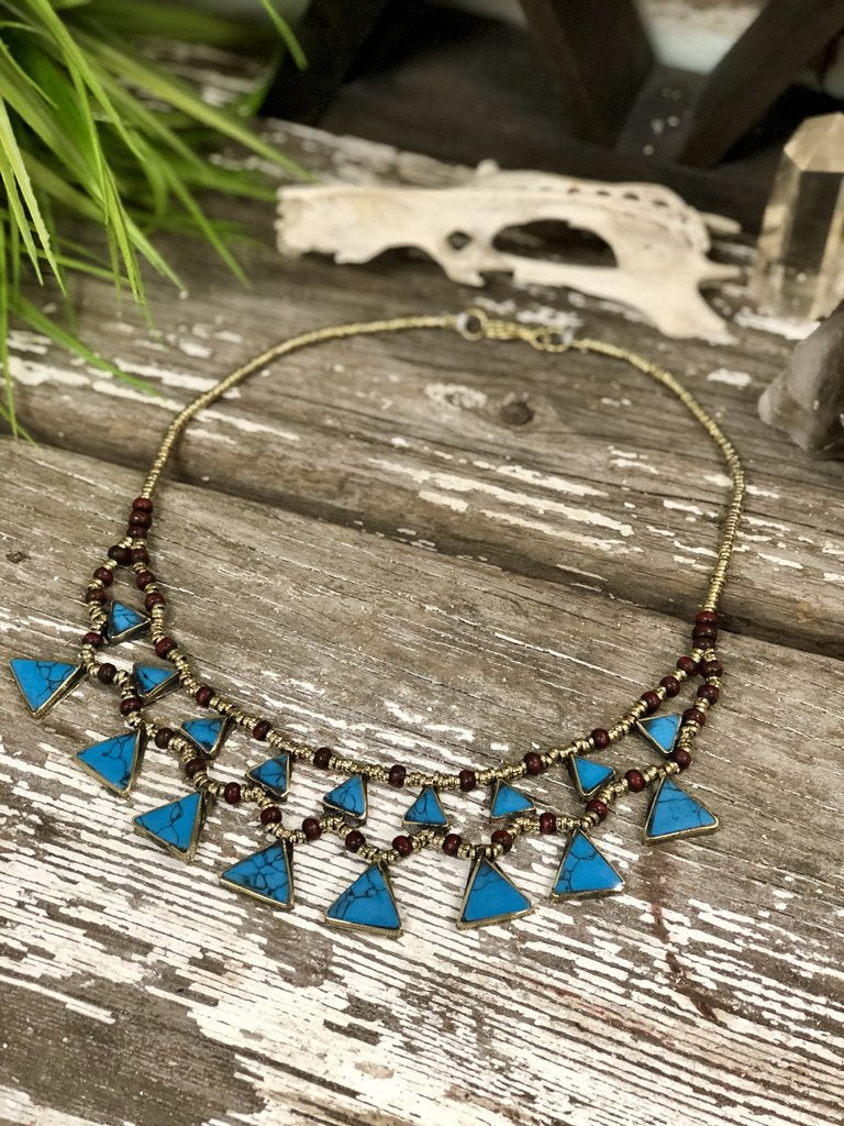 Sky Blue Handmade Necklace (Kuchi Tribe)