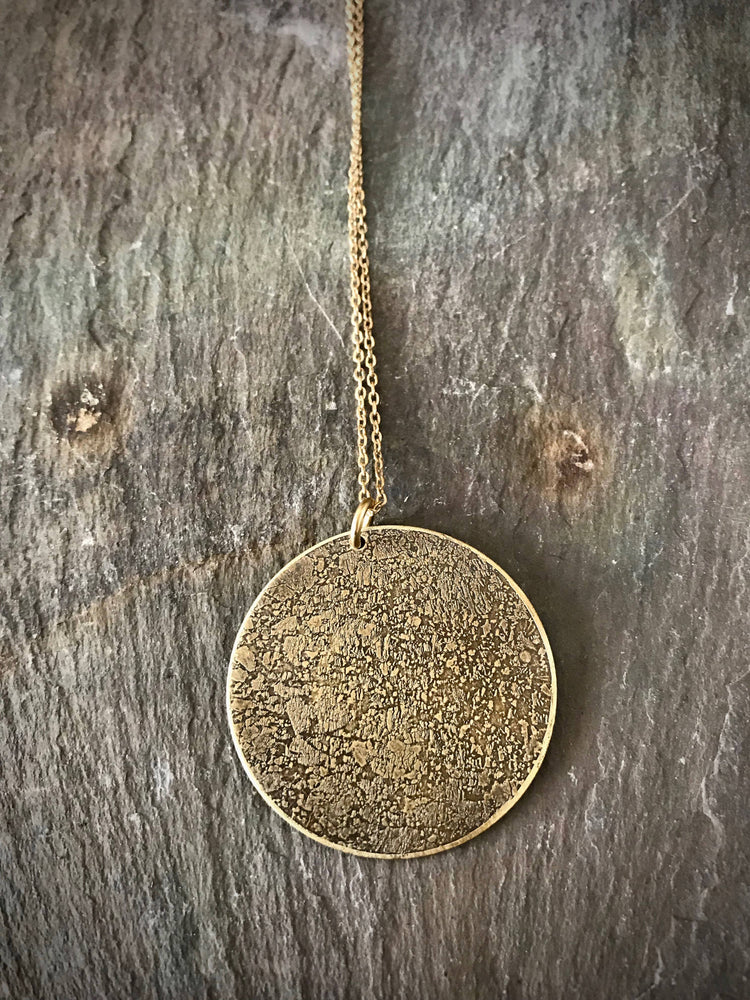 Etched Full Moon Necklace