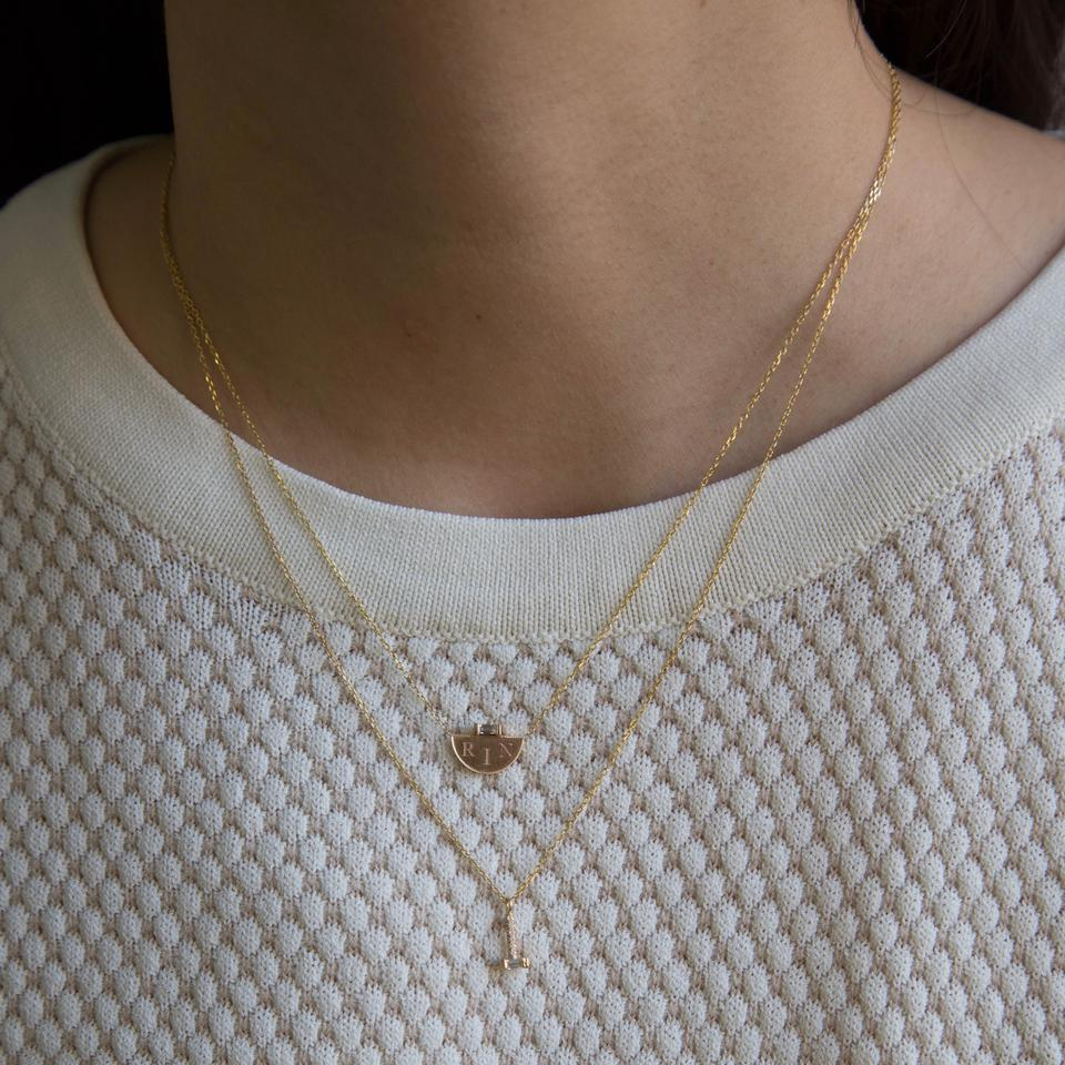 HALF MOON BAGUETTE DIAMOND SIGNET NECKLACE
