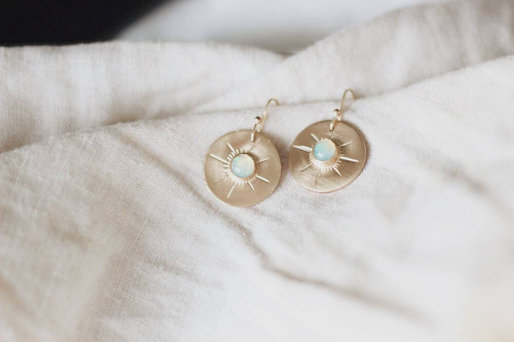 Opal Horizon Coin Earrings