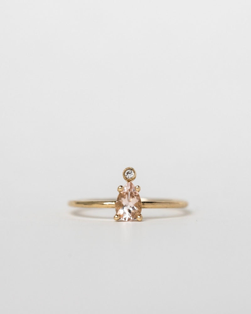 PINK MORGANITE & DIAMOND PEAR RING
