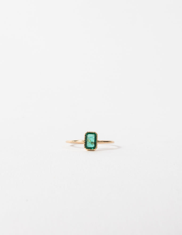 EMERALD CUT EMERALD WISP RING