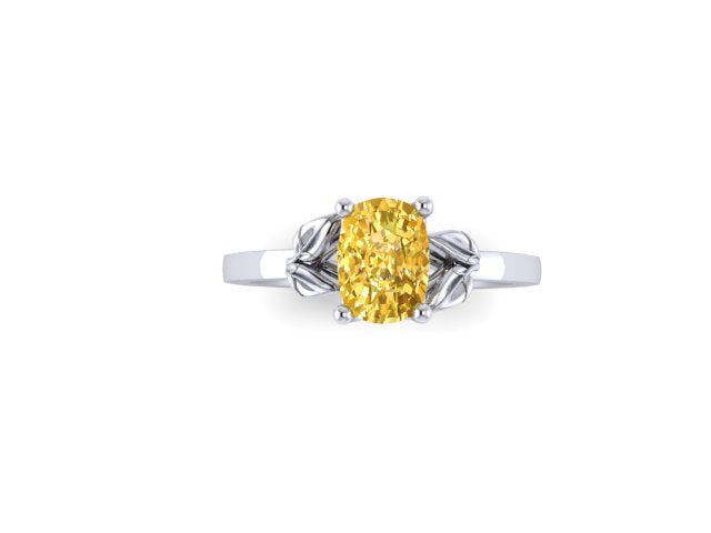 Yellow Sapphire Life In The Leaves Cushion Cut Engagement Ring