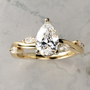 14kt Teardrop Diamond Floral Trail Engagement Ring