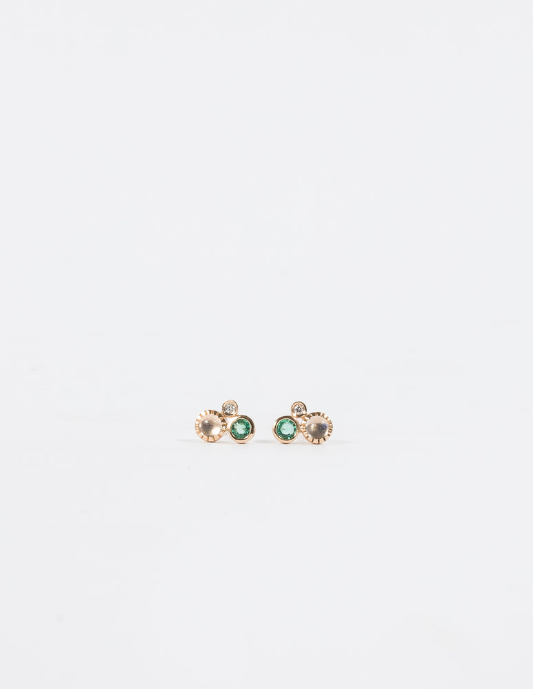 EMERALD & RAINBOW MOONSTONE DIAMOND CLUSTER EARRINGS