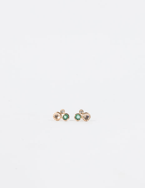 Emerald & Rainbow Moonstone Diamond Cluster Stud Earrings