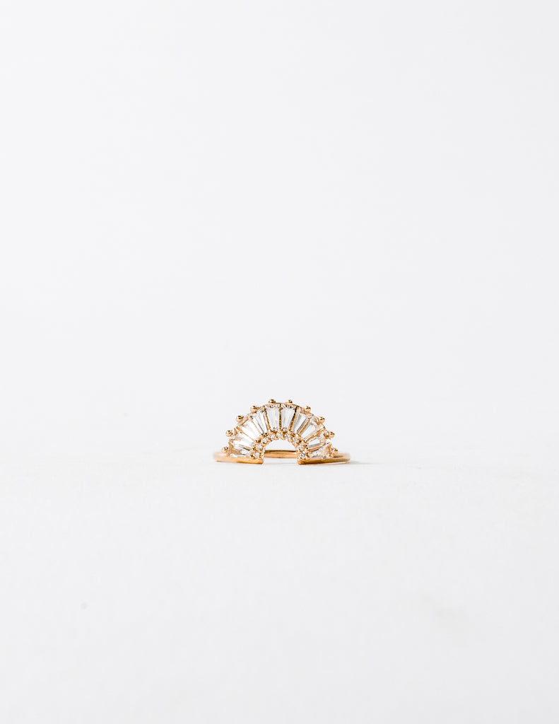 Topaz and Diamond Illuminating Baguette Arc Ring
