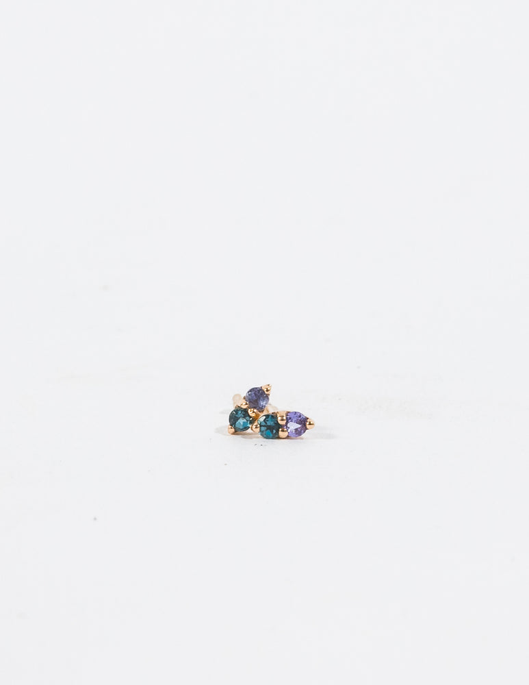 TANZANITE & LONDON BLUE TOPAZ PAVILLION STUD EARRINGS