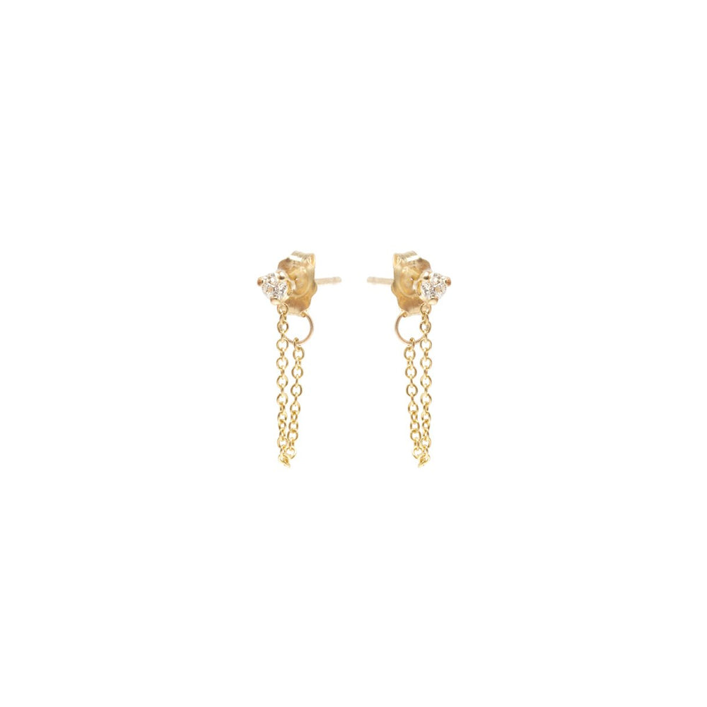PRONG SET DIAMOND CHAIN STUD EARRINGS