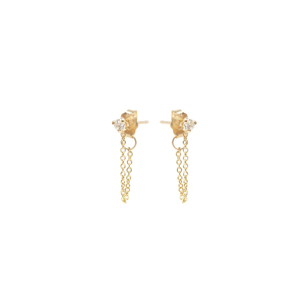14kt Prong Set Diamond Chain Earrings