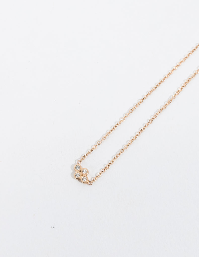 SMALL HORIZONTAL QUAD DIAMOND NECKLACE