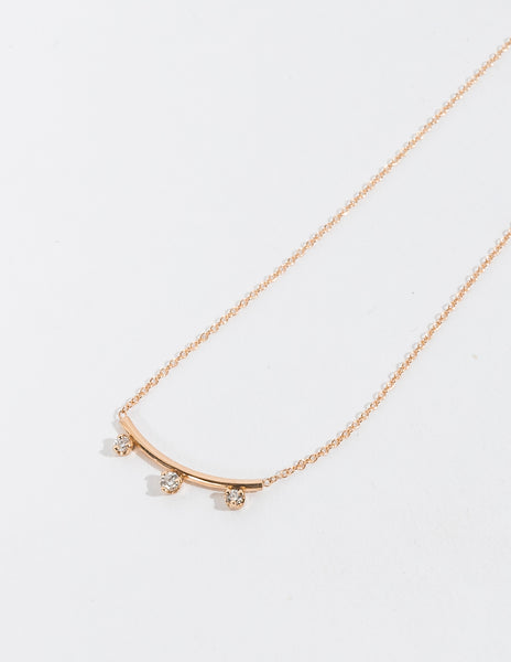 THREE PRONG DIAMOND CURVE BAR NECKLACE