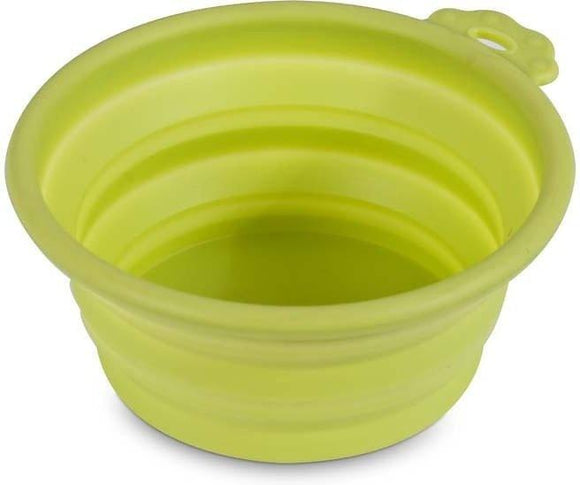 Petmate Silicone Round Green Collapsible Travel Bowl