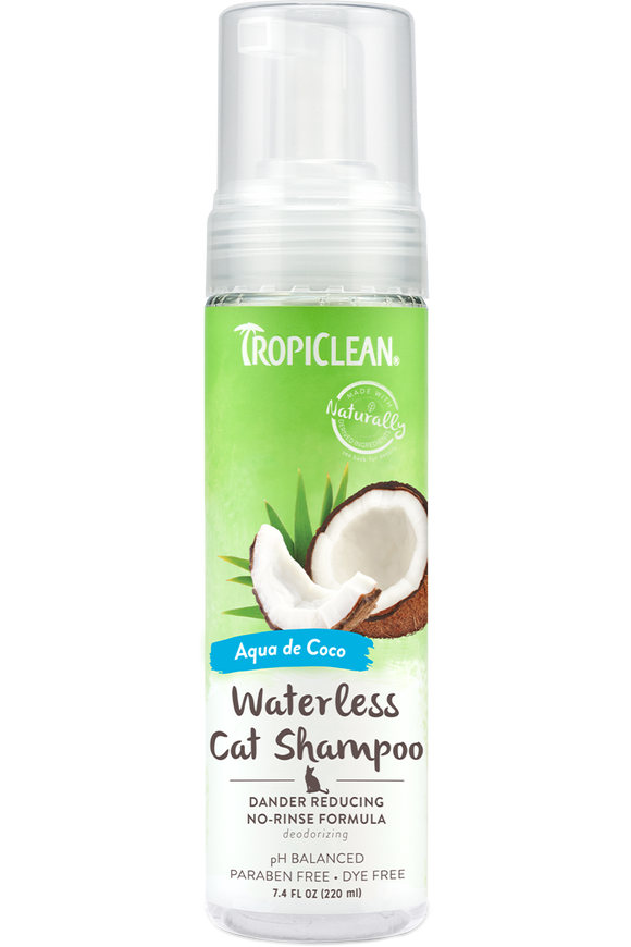 TropiClean - Waterless Shampoo - Aqua de Coco Dander Reducing Cat Shampoo