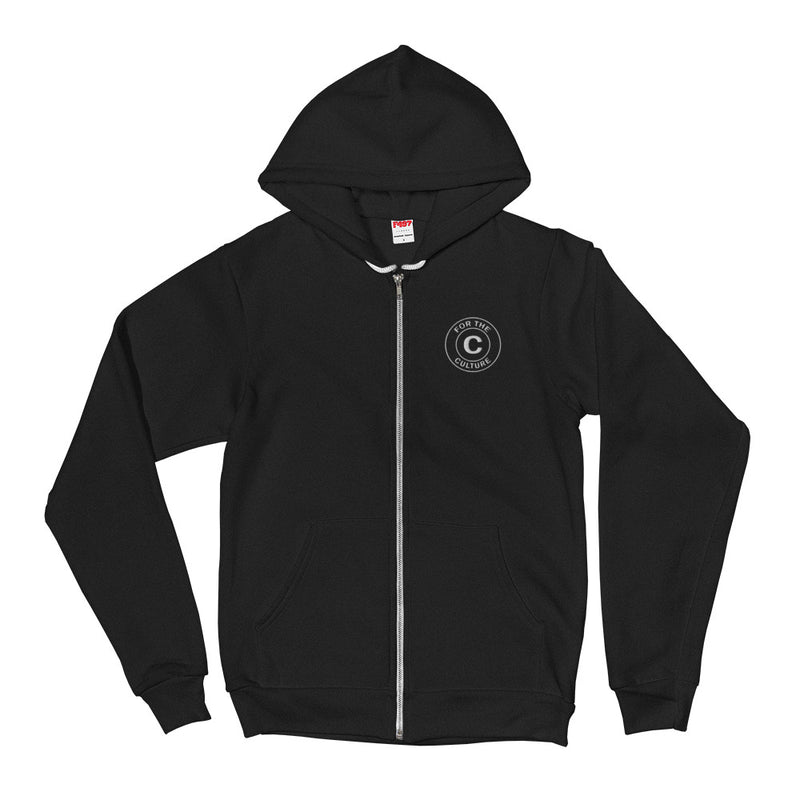 Culture Embroidered Logo Patch Zip-Up Hoodie