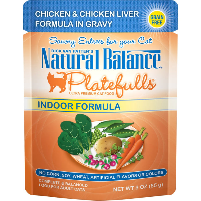 Natural Balance Platefulls Indoor Grain Free Chicken and Chicken Liver in Gravy Pouch Wet Cat Food