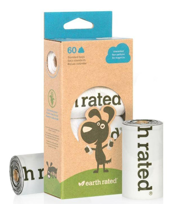 Earth Rated Unscented 100% Plastic-Free Dog Waste Bags, 4 Refill Rolls 60-Count