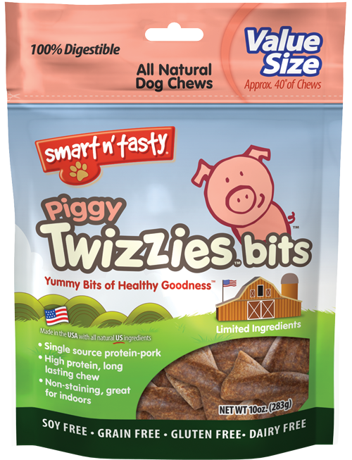 Smart n' Tasty Grain Free Piggy Twizzies Bits Dog Treats