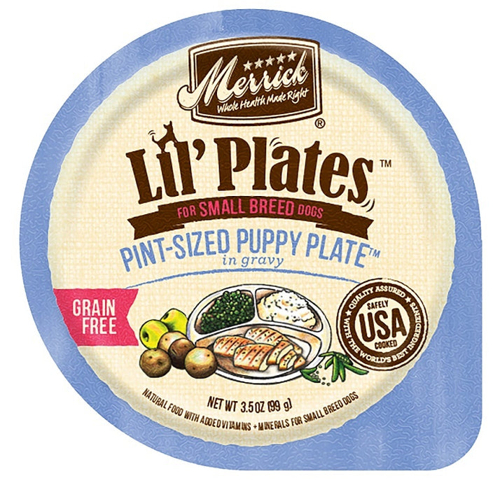 Merrick Lil' Plates Small Breed Grain Free Pint Size Puppy Plate in Gravy Dog Food Tray