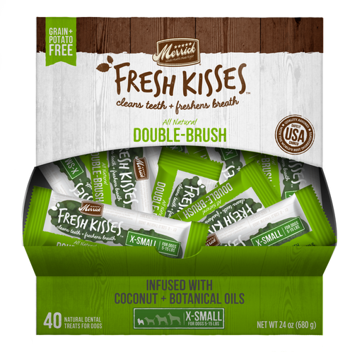 Merrick Fresh Kisses Grain Free Coconut Oil and Botanicals Extra Small Dog Treat Box