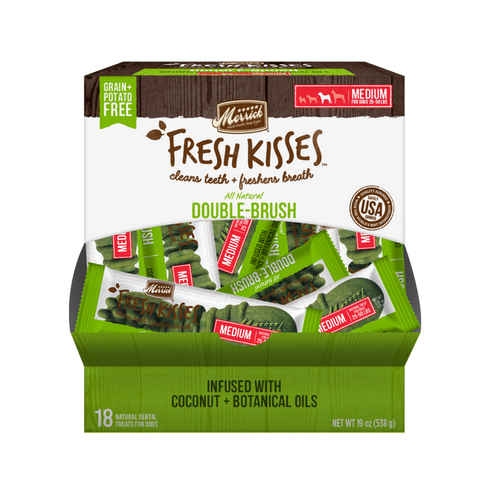 Merrick Fresh Kisses Grain Free Coconut Oil and Botanicals Medium Dog Treat Box