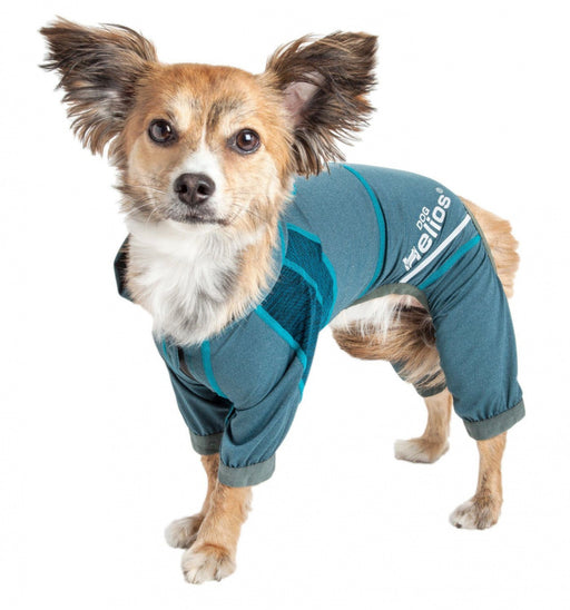 Pet Life Dog Helios Namastail Teal Full Bodied Performance Breathable Yoga Dog Hooded Tracksuit