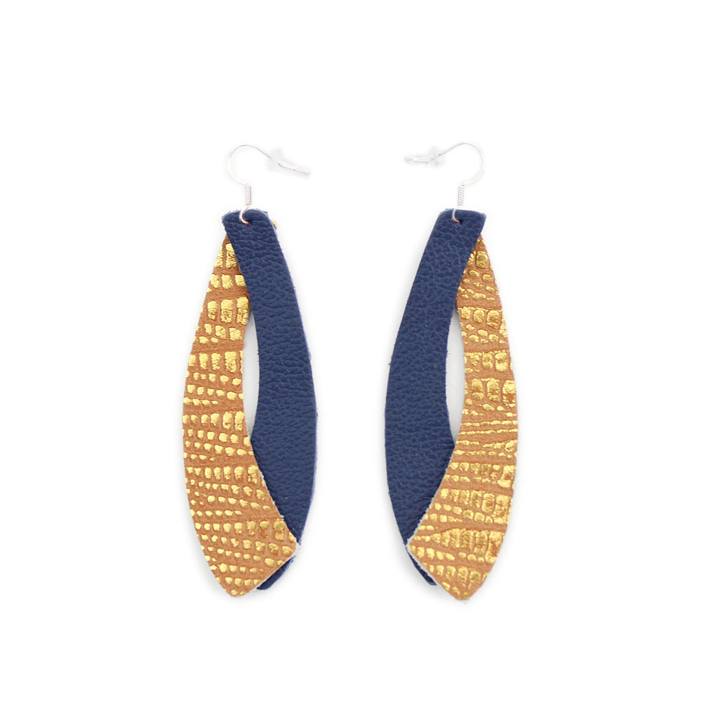 The Double Wing Leather Earring in Copper Lizard over Navy