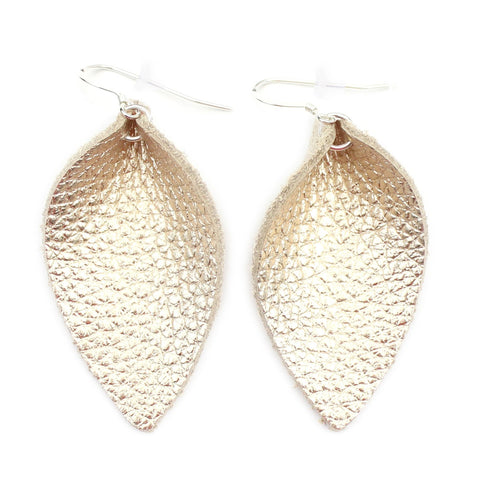 The Blossom Leather Earrings in Gold Foil