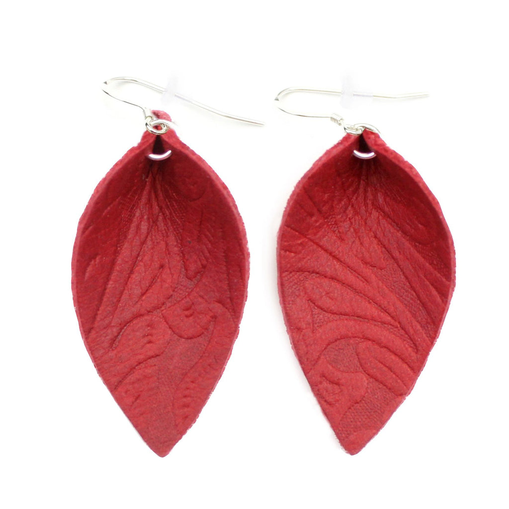 The Blossom Leather Earrings in Tooled Red