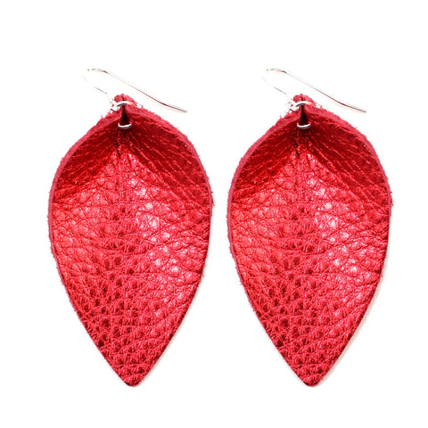 The Blossom Leather Earrings in Shiny Red