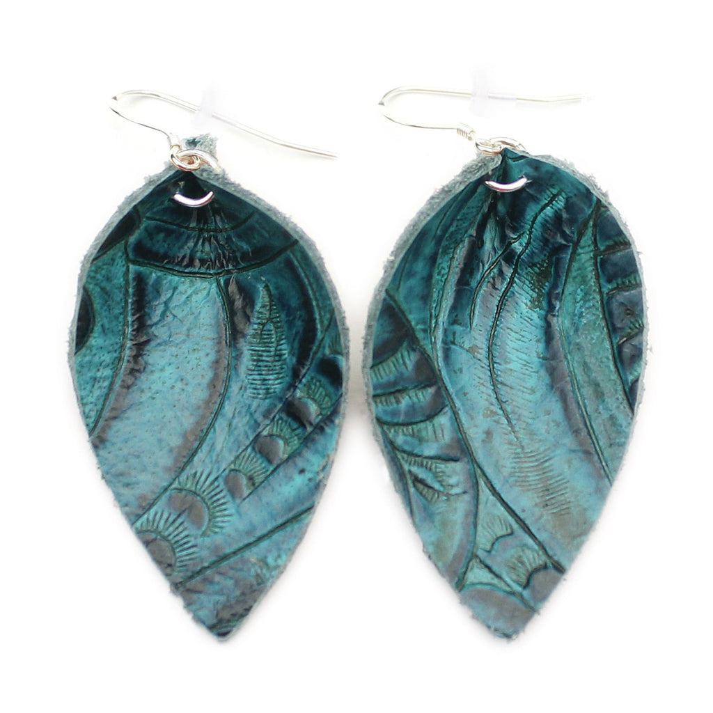 The Blossom Leather Earrings in Tooled Blue