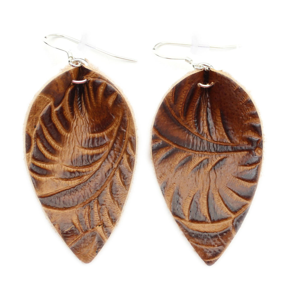 The Blossom Leather Earrings in Tooled Brown