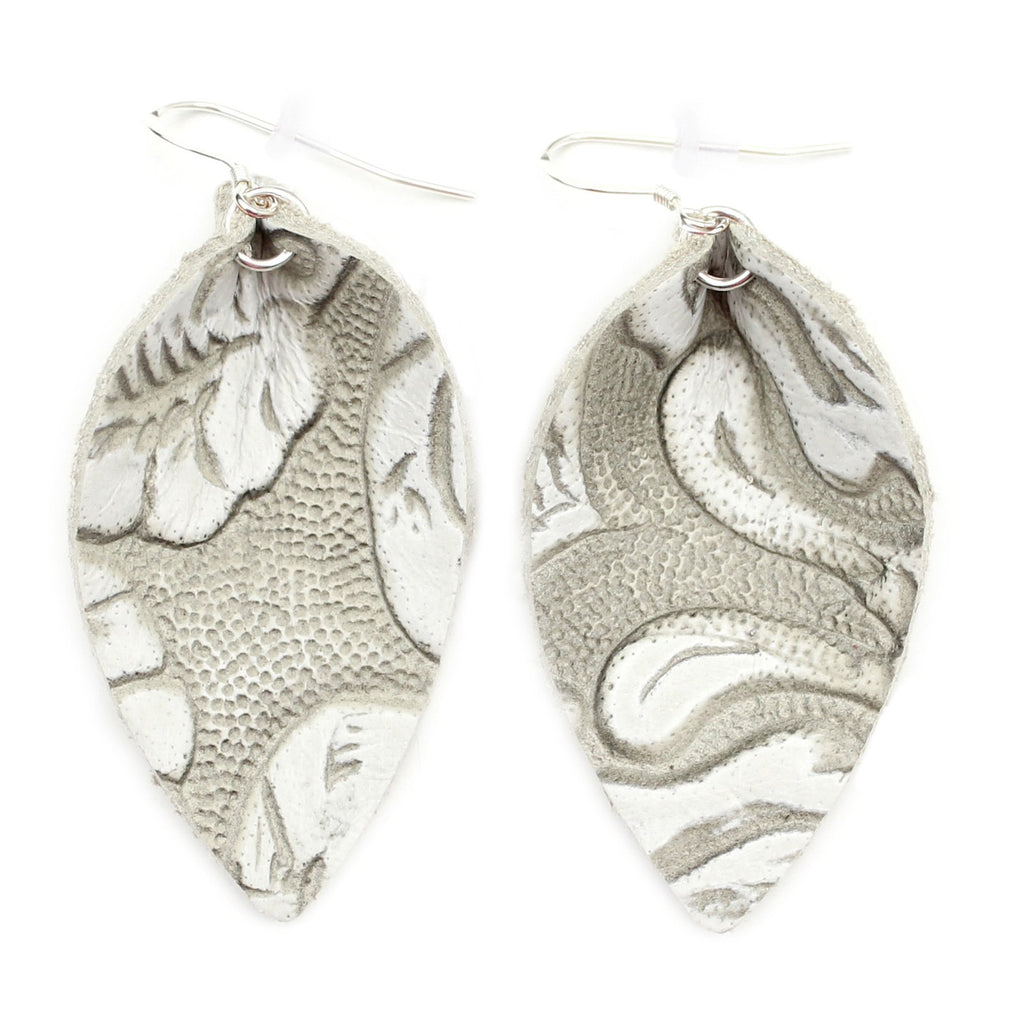 The Blossom Leather Earrings in Tooled Grey