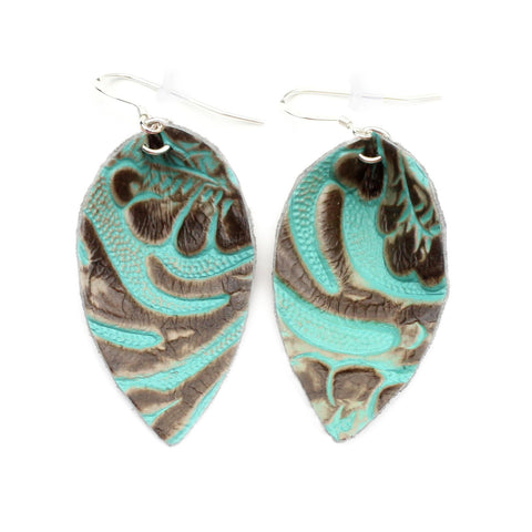 The Blossom Leather Earrings in Tooled Turquoise