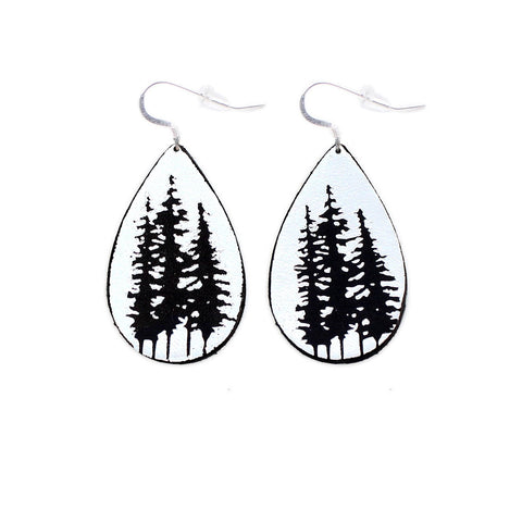 The Gatewood Collection Leather Metallic Earrings - The Tree Tops in Black