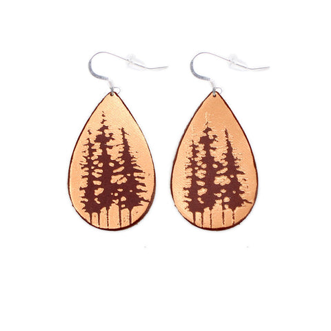 The Gatewood Collection Leather Metallic Earrings - The Tree Tops in Chestnut