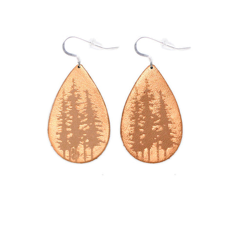 The Gatewood Collection Leather Metallic Earrings - The Tree Tops in Natural