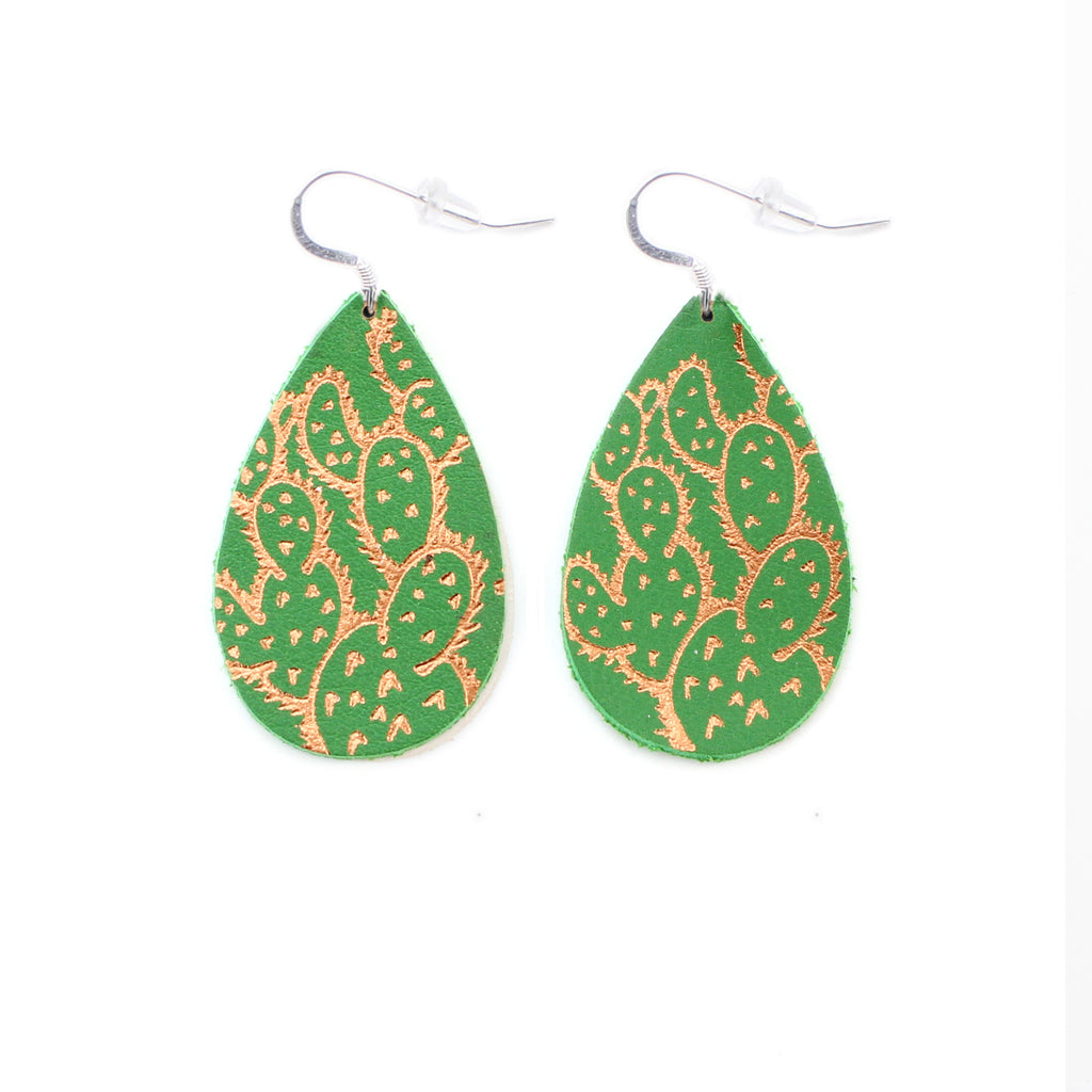 the gatewood collection - earrings - prickly pear cactus - green