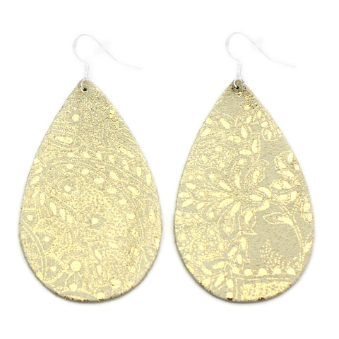 The Drop Leather Earrings in Gold Lace