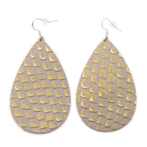 The Drop Leather Earrings in Gold Lizard