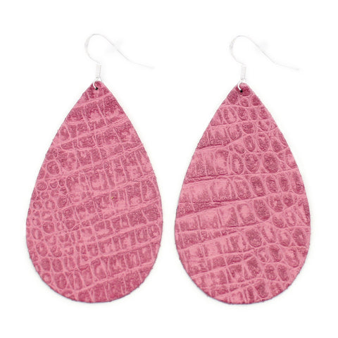 The Drop Leather Earrings in Gator Pink