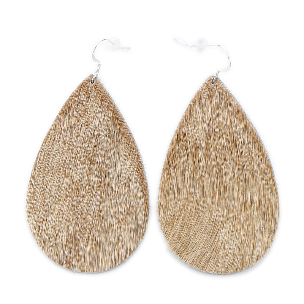 The Drop Hair On Leather Earring in Light Tan