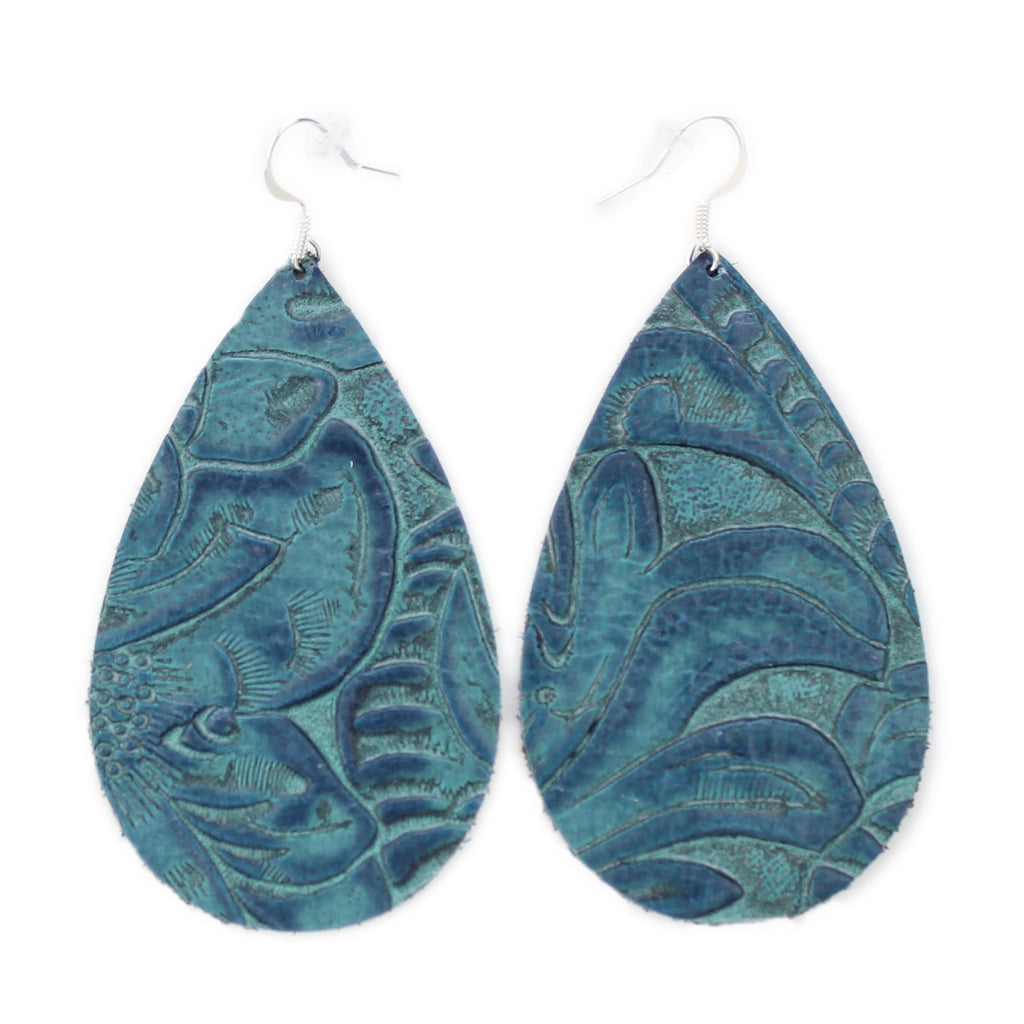 The Drop Leather Earrings in Tooled Blue