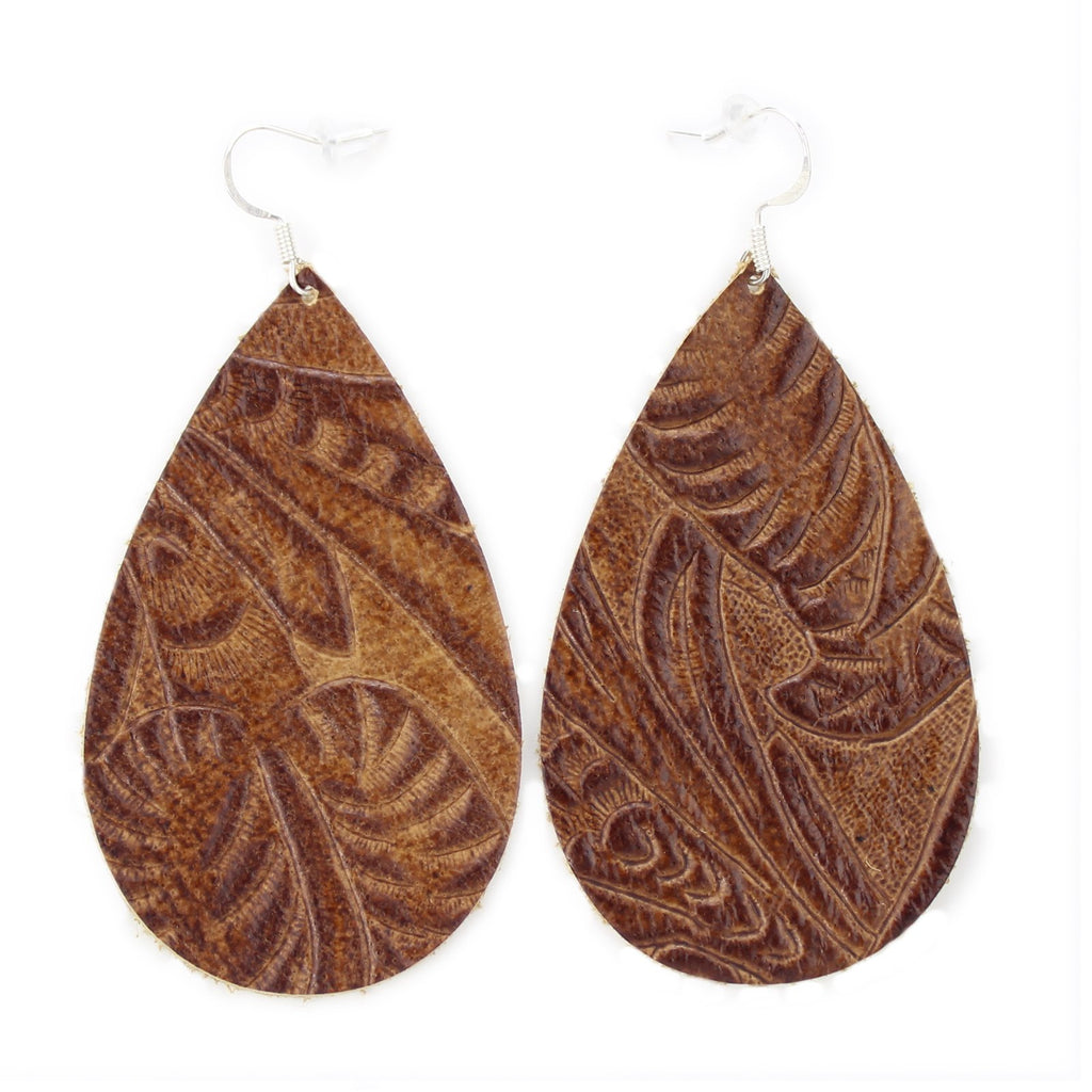The Drop Leather Earrings in Tooled Brown