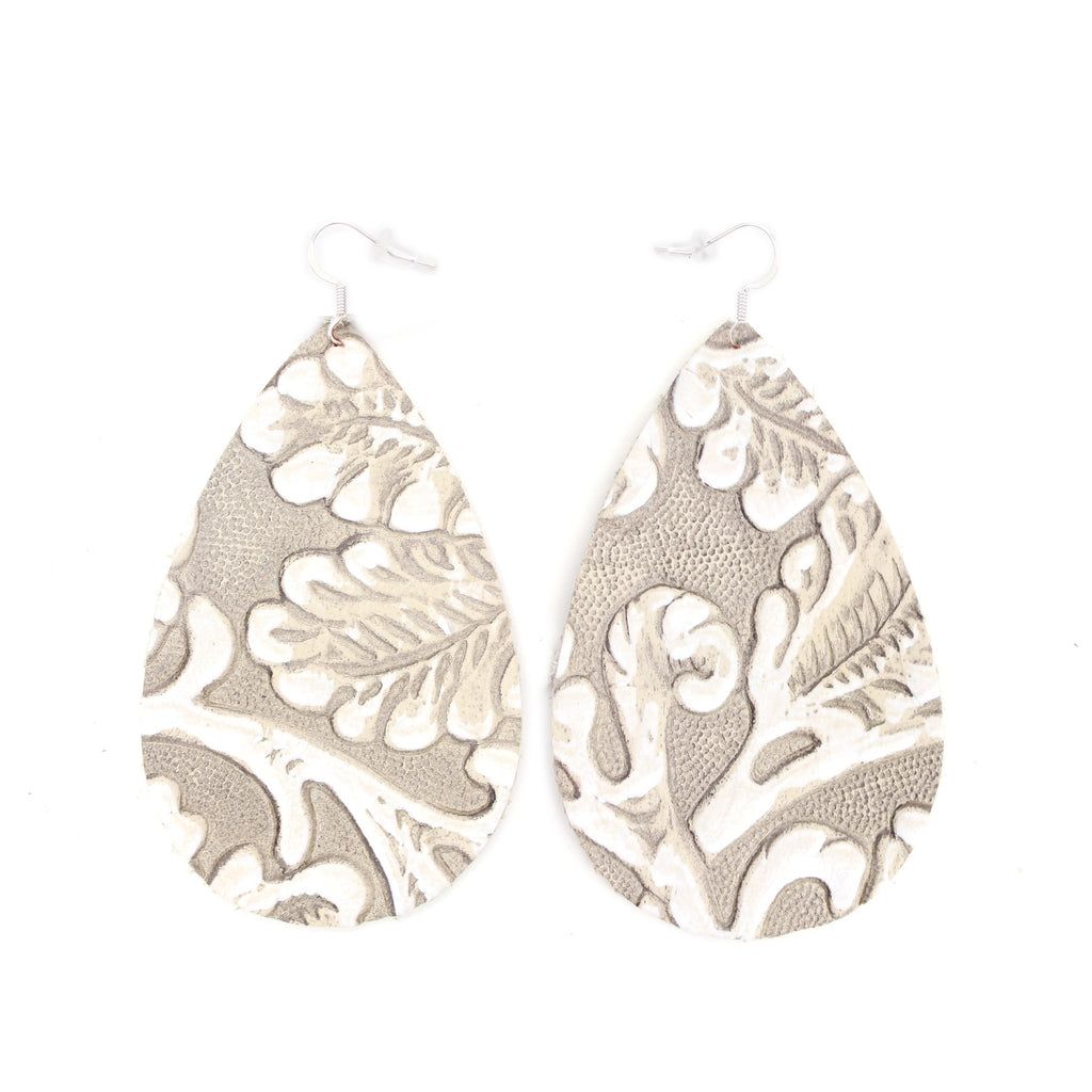 The Drop Leather Earrings in Tooled Grey