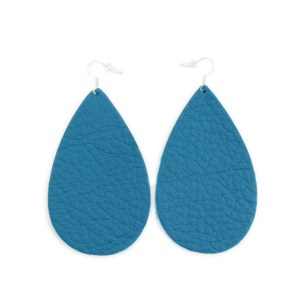 The Drop Leather Earrings in Teal
