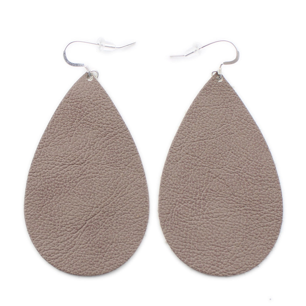 The Drop Leather Earrings in Taupe