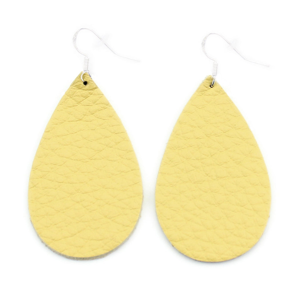 The Drop Leather Earrings in Yellow